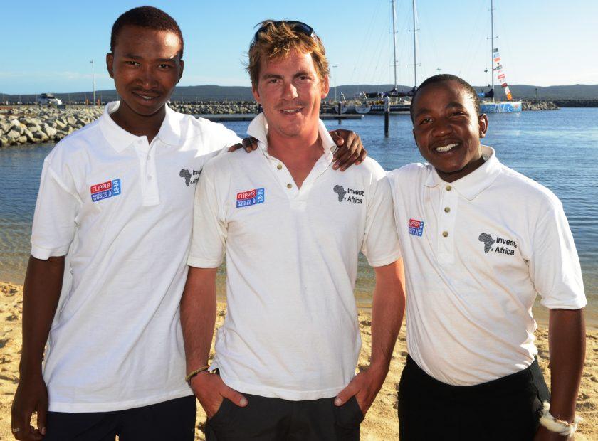 L-R Masibulele Liyaba, Sbu, Rich Gould, Invest Africa Skipper and Mbongseni, Hitman CEO. Handing over in Australia